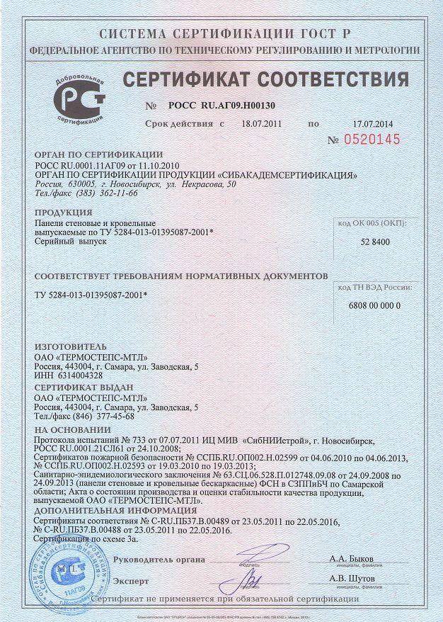 Сертификат Thermopanel
